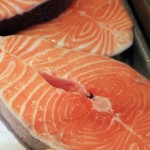 Photo of fresh salmon steaks
