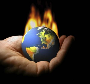 Photo of the earth on fire