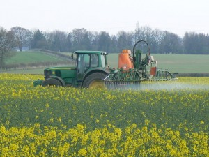 Photo of crop spraying on the farm