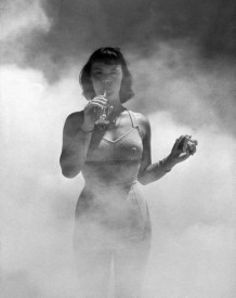 Photo of a model in DDT fog circa 1948