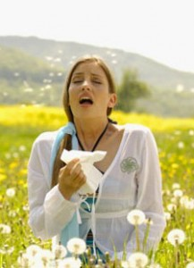 Photo of a woman in a pollen-filled field