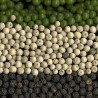 Photo of green, white and black peppercorns