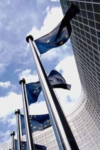 Photo of the flags outside the European Commission building
