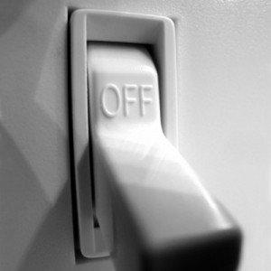 Photo of a light switch saying 'off'