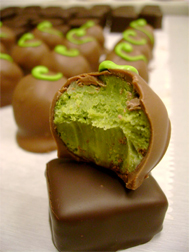 Photo of a green tea and chocolate truffle