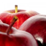 Close cropped photo of red apples