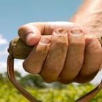 Photo of a farmer's hand on a shovel