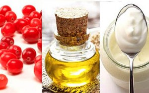Composite photo of cranberries, ricce bran oil and yoghurt