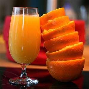 Photo of a glass of freshly squezed orange juice