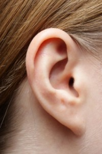 Close up photo of a woman's ear