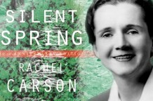 Photo of Rachel Carson superimposed on the cover of Silent Spring