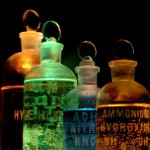 Mood shot of old fashioned chemical bottles