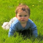 Photo of a child crawling in the grass