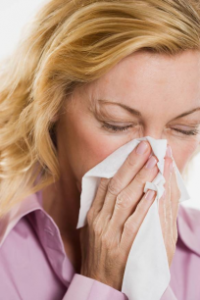 Photo of a woman with a respiratory infection