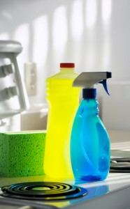 Photo of cleaning products in a kitchen