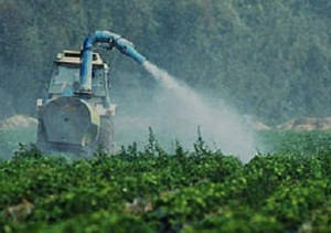 Photo of pesticides being sprayed in a field