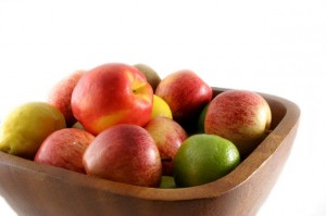 Photo of fruit in a wooden bowl