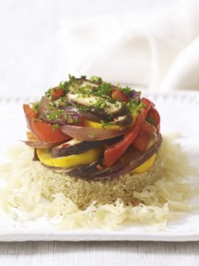 Photo of quinoa and vegetable stack