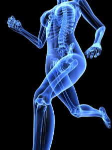 Illustration of a woman's skeleton running