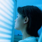 Photo of a woman using light therapy