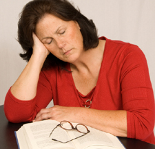 Photo of a tired woman