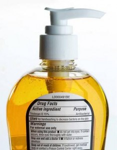 Photo of a liquid soap containing triclosan