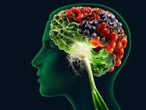 Graphic of a brain containing healthy food