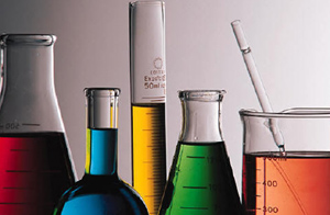 Photo of beakers of chemcials