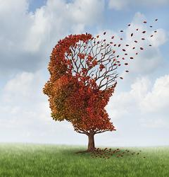 Illustration of Alzheimer's disease showing memory loss as leaves falling from a tree
