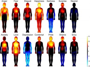 Photo of computer images showing howw emotions are felt in the body