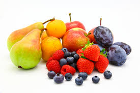 Photo of fresh fruits against a white background