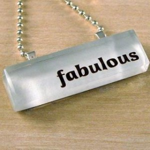 Photo of a necklace forming the word 'fabulous'