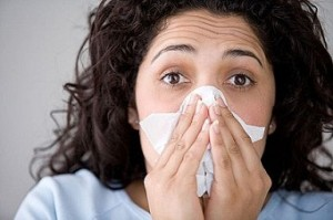 Photo of a woman with the flu