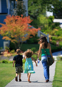 photo of a family walking