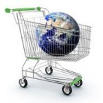 photo of the world in a shopping trolley