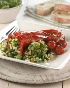 Photo of risotto stuffed Ramiro peppers