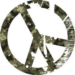 Photo of a peace sign in camouflage
