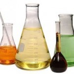 photo of beakers of chemicals