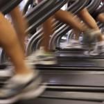 Photo of feet running on a treadmill