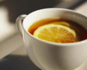 photo of a cup of tea with lemon