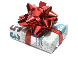 Photo of money wrapped up in a bow