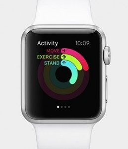 Photo of an Apple watch with movement tracker