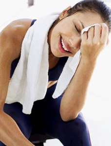 photo of a women after a sweaty workout