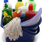 photo of a bucket of household cleaners